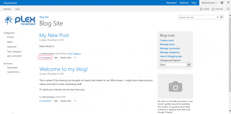 Microsoft SharePoint 2013:Adding a blog comment - PlexHosted