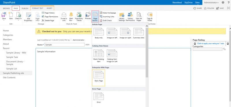 Microsoft SharePoint 2013:Changing a page layout - PlexHosted ...