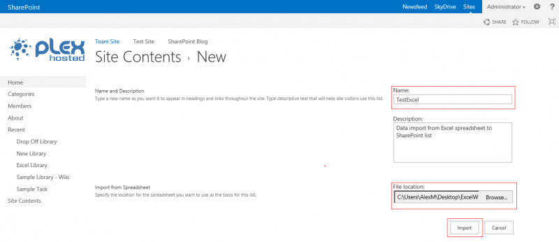 how to add ecxel content types to new sharepoint