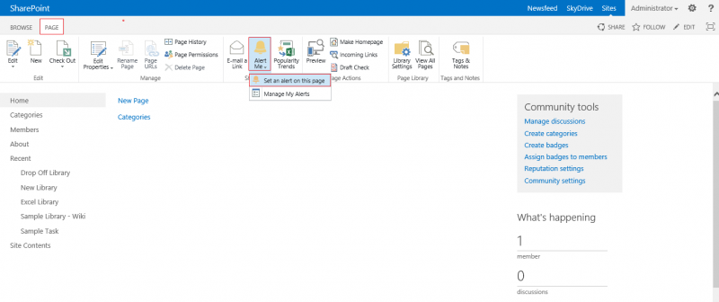 Microsoft SharePoint 2013:Setting up Alerts on webpages ...